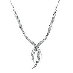 Jon Richard - Diamante crystal cross over spray necklace