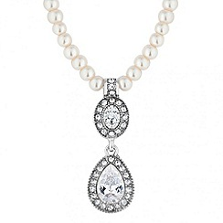 Jon Richard - Crystal peardrop and pearl chain necklace