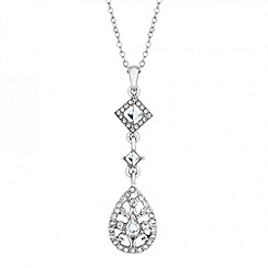 Jon Richard - Square crystal and peardrop filigree necklace