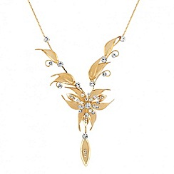 Jon Richard - Gold and crystal mesh flower necklace