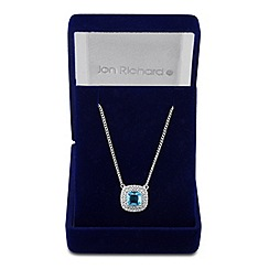 Jon Richard - Blue cubic zirconia square pendant necklace