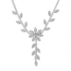 Jon Richard - Floral crystal embellished Y drop necklace