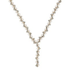 Jon Richard - Pearl and diamante zig zag gold drop necklace