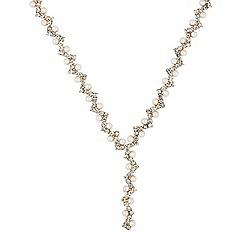 Jon Richard - Pearl and diamante zig zag gold drop necklace