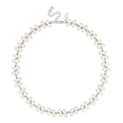 Jon Richard - Lily pearl and mini crystal collar necklace