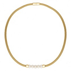 Jon Richard - Polished gold and pearl mesh magnetic necklace