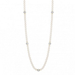 Jon Richard - Long pearl and polished bead gold capped necklace