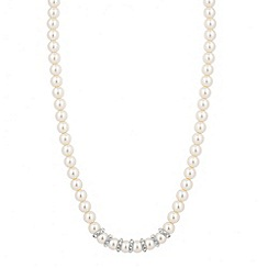 Jon Richard - Cream pearl and crystal disc necklace