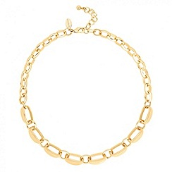 Jon Richard - Polished gold scalloped chain link necklace