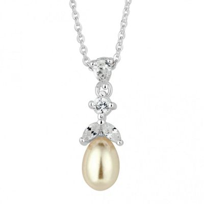 Alan Hannah Devoted Designer cubic zirconia cluster pearl drop necklace - . -