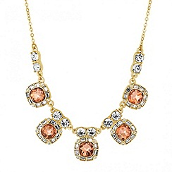 Jon Richard - Peach square stone surround drop necklace