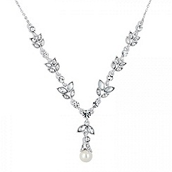 Jon Richard - Crystal leaf and pearl y drop necklace