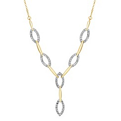 Jon Richard - Two tone crystal navette y drop necklace