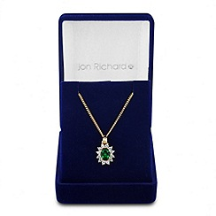 Jon Richard - Online exclusive green cubic zirconia gold drop necklace