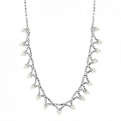 Jon Richard - Diamante crystal and triple pearl drop necklace