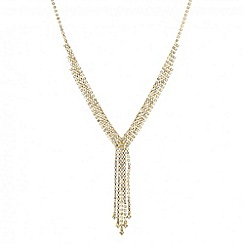 Jon Richard - Diamante crystal gold tassel drop necklace