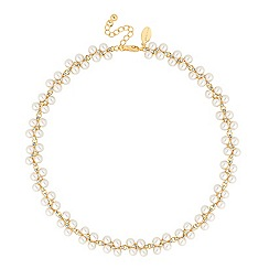 Jon Richard - Pearl and mini crystal cluster gold necklace