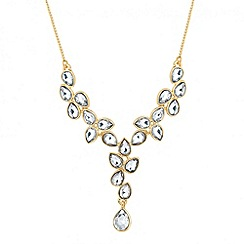 Jon Richard - Polished gold crystal teardrop necklace