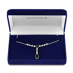 Jon Richard - Green cubic zirconia y drop necklace