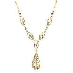 Jon Richard - Polished gold filigree and crystal drop necklace
