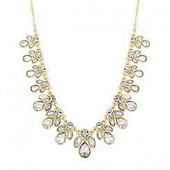 Jon Richard - Gold crystal mixed stone cluster drop necklace