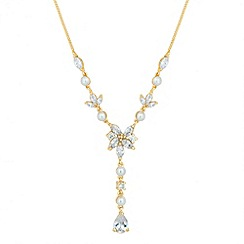 Jon Richard - Cubic zirconia and pearl multi gold y drop necklace