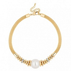 Jon Richard - Statement pearl and crystal mesh necklace