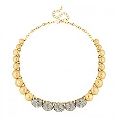 Jon Richard - Grey crystal embellished dome link necklace