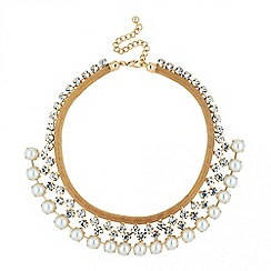 Jon Richard - Diamante crystal and pearl collar necklace
