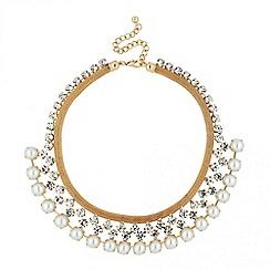Jon Richard - Diamante crystal and pearl collar necklace