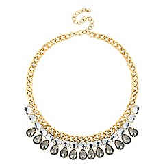 Jon Richard - Statement grey crystal teardrop necklace