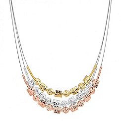 Jon Richard - Triple tone multi row pebble necklace