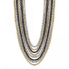 Jon Richard - Triple tone multi row chain necklace