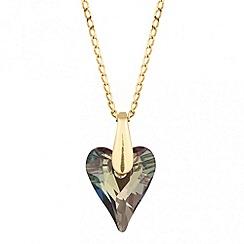 Jon Richard - Iridescent green crystal heart drop earring MADE WITH SWAROVSKI ELEMENTS