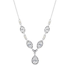 Alan Hannah Devoted - Designer cubic zirconia surround peardrop necklace