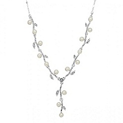 Jon Richard - Pearl and crystal leaf y drop necklace