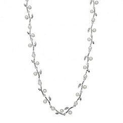 Jon Richard - Pearl and crystal leaf link chain necklace