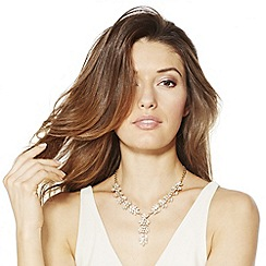 Jon Richard - Gold crystal encased leaf y drop necklace