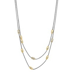 Jon Richard - Two tone multi row gold bead necklace