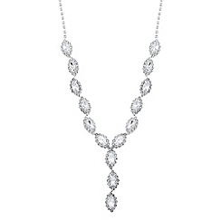 Jon Richard - Diamante surround navette y drop necklace