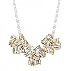 Jon Richard - Statement 3-d pearl and diamante gold flower necklace