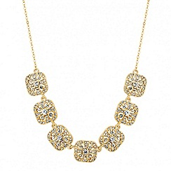 Jon Richard - Gold filigree crystal square link necklace