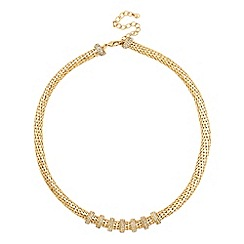 Jon Richard - Crystal disc and gold mesh chain necklace