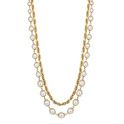 Jon Richard - Pearl and interlinked chain double row necklace