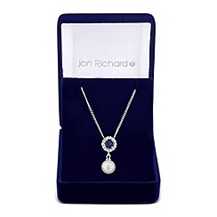 Jon Richard - Clara blue cubic zirconia pearl drop necklace