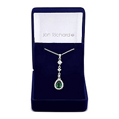 Jon Richard - Green cubic zirconia surround peardrop necklace