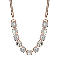 Jon Richard - Grey pearl and crystal encased rose gold necklace