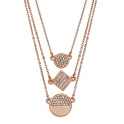 Jon Richard - Crystal disc multi strand rose gold necklace