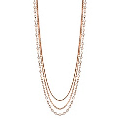 Jon Richard - Long rose gold pearl multi row necklace