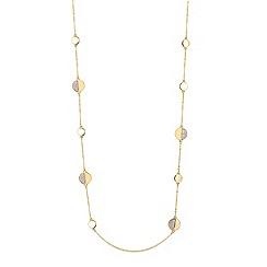 Jon Richard - Two tone crystal disc long necklace